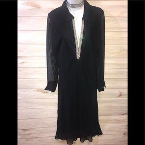 ABS Allen Schwarz Black Gem Neck Cocktail Dress-10